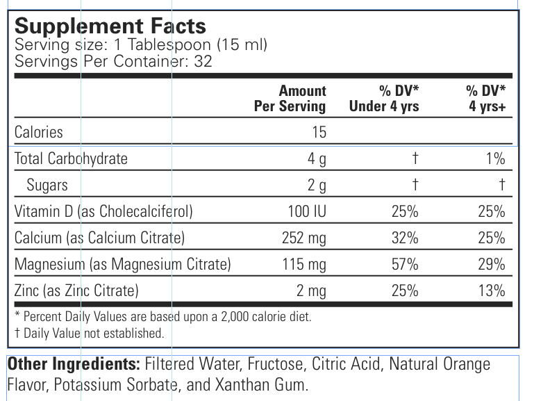 Liquid Calcium with Magnesium Supplement Facts