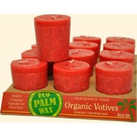 Aloha Bay Candle Votives Organic Eco Palm Wax Unscented Red 12-pack