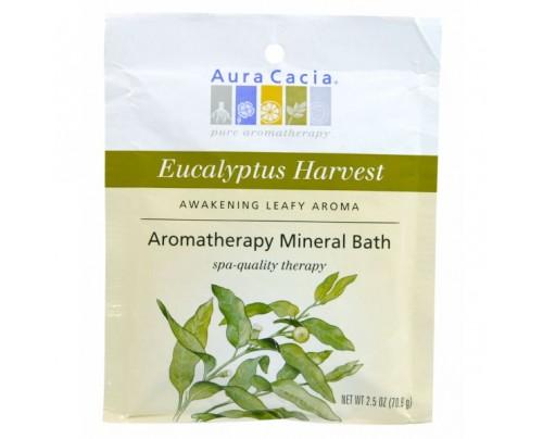 Aura Cacia Eucalyptus Harvest Aromatherapy Mineral Bath Salts 2.5oz.