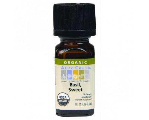 Aura Cacia Organic Sweet Basil Essential Oil 0.25oz.
