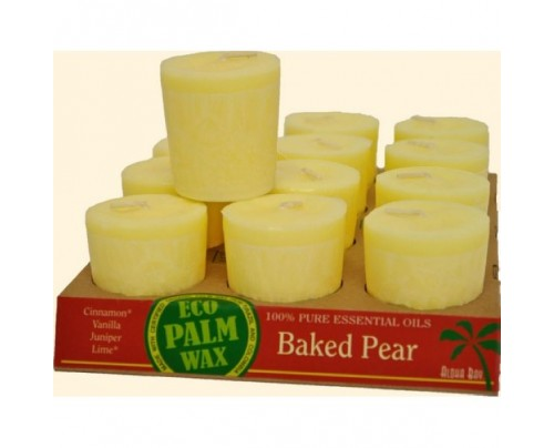 Aloha Bay Candle Votives Eco Palm Wax Baked Pear Champagne 12-pack