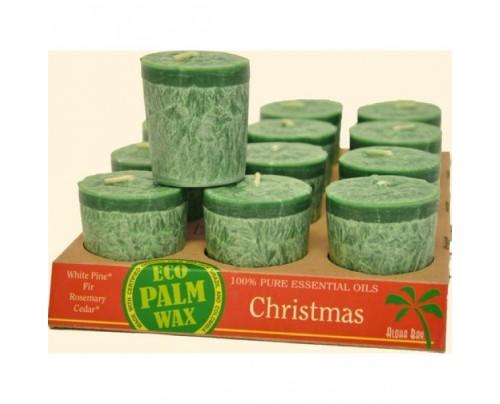 Aloha Bay Candle Votives Eco Palm Wax Christmas Green 12-pack