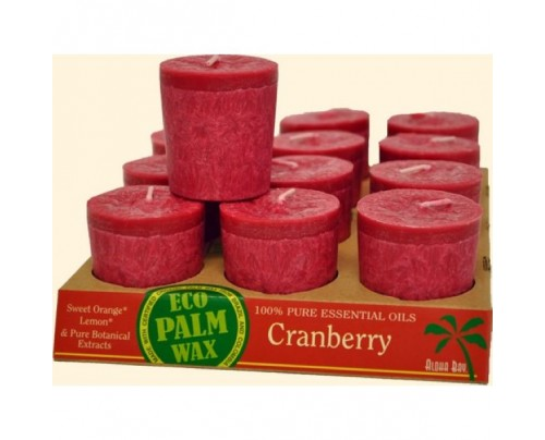 Aloha Bay Candle Votives Eco Palm Wax Cranberry Bergundy 12-pack