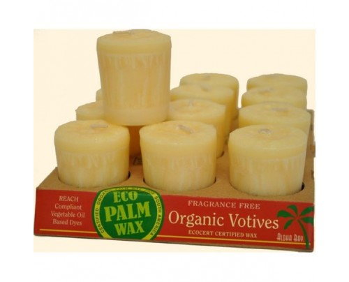 Aloha Bay Candle Votives Organic Eco Palm Wax Unscented Cream 12-pack