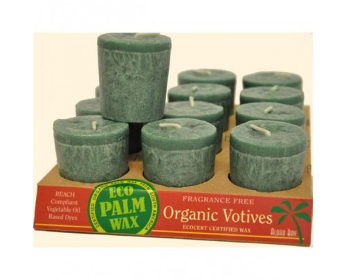 Aloha Bay Candle Votives Organic Eco Palm Wax Unscented Green 12-pack