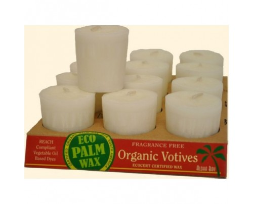 Aloha Bay Candle Votives Organic Eco Palm Wax Unscented White 12-pack