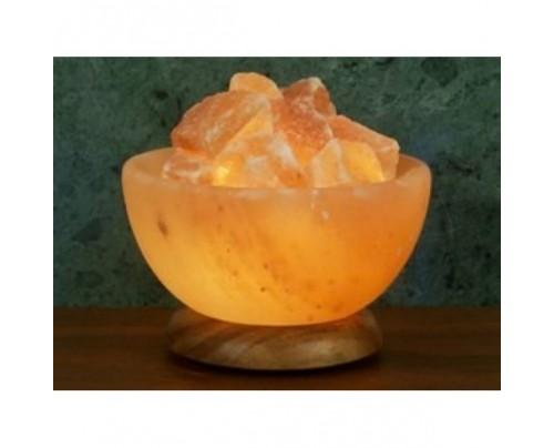 """Aloha Bay Himalayan Salt Bowl Lamp Hardwood Base 8"""""""