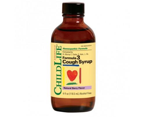 ChildLife Formula 3 Cough Syrup Alcohol-Free Natural Berry 4oz.