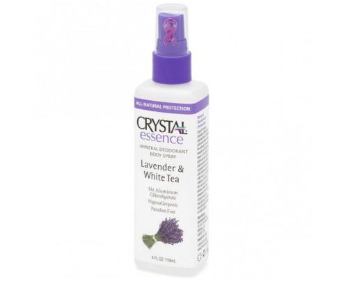Crystal Mineral Deodorant Body Spray Lavender & White Tea 4oz.