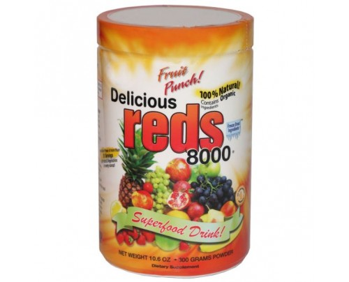 Greens World Delicious Reds 8000 Fruit Punch Flavor 10.6 oz.