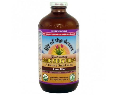 Lily Of The Desert Organic Aloe Vera Inner Fillet Juice Preservative Free 32 fl. oz.