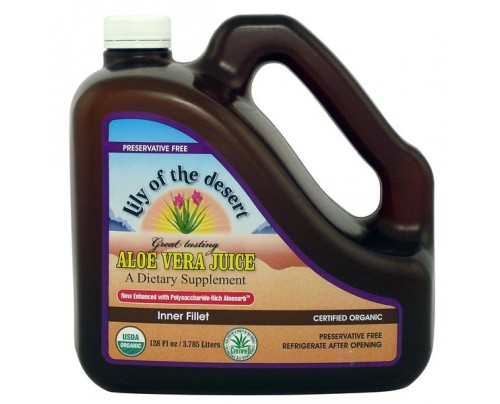Lily Of The Desert Organic Aloe Vera Inner Fillet Juice Preservative Free Gallon