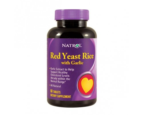 Natrol Red Yeast Rice with Garlic 60 Tablets