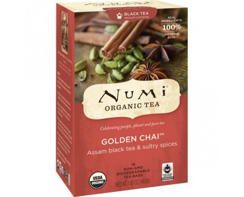 Numi Organic Tea Golden Chai Black Tea 18 Tea Bags