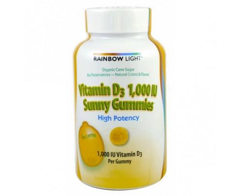 Rainbow Light Vitamin D 1000 IU Sunny Gummies Sour Lemon 50 Gummies