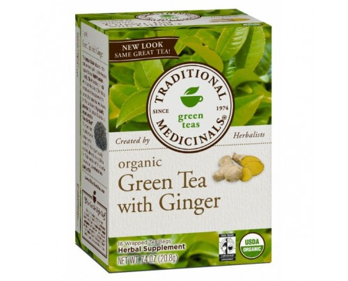 Traditional Medicinals Organic Green Tea with Ginger Tea 16 Teabags