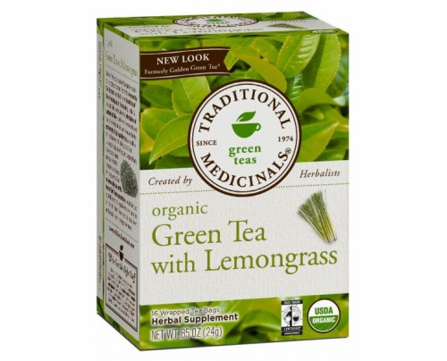 Traditional Medicinals Organic Green Tea with Lemongrass Tea formerly Golden Green Tea 16 Teabags