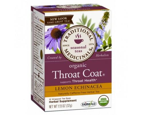 Traditional Medicinals Organic Throat Coat Lemon Echinacea Tea 16 Teabags