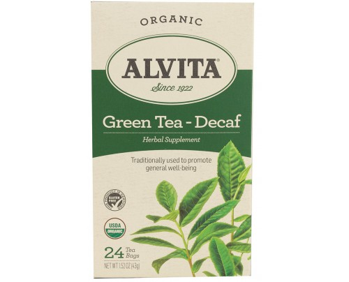 Alvita Teas Organic Chinese Green Tea Decaf 24 Tea Bags