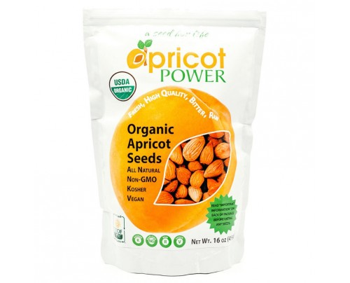 Apricot Power Organic Raw Bitter Apricot Kernels Seeds 16 oz.