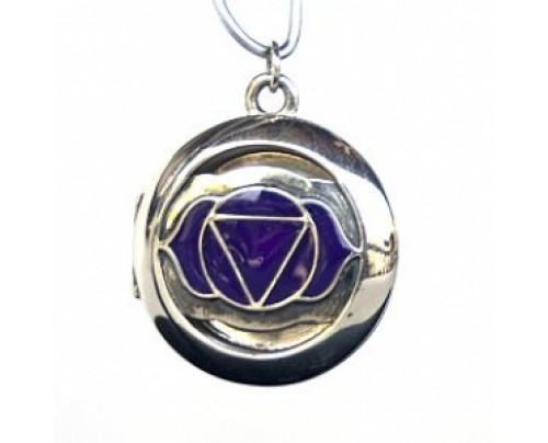 Earth Solutions Aromatherapy Chakra Pendant Chakra 6, Third Eye - Sterling Silver, Purple
