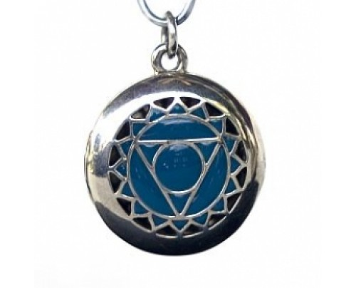 Earth Solutions Aromatherapy Chakra Pendant Chakra 5, Throat - Sterling Silver, Blue