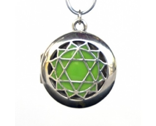Earth Solutions Aromatherapy Chakra Pendant Chakra 4, Heart - Sterling Silver, Green