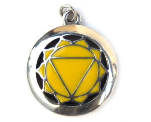 Earth Solutions Aromatherapy Chakra Pendant Chakra 3, Solar Plexus - Sterling Silver, Yellow