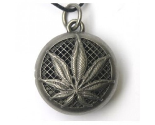 Earth Solutions Aromatherapy Jewelry - Scent Chamber Hemp Leaf, alloy