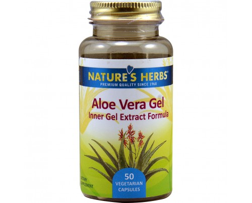 Nature's Herbs Aloe Vera Gel 200:1 Extract 25 mg 50 Vegetarian Capsules