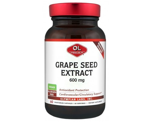 Olympian Labs Grape Seed Extract 600 mg 60 Vegetarian Capsules