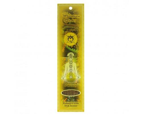 Prabhuji's Gifts Stick Incense Muladhara Root Chakra Grounding & Serenity Sandalwood, Patchouli, Khus, & Clove 10 Sticks