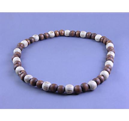 Lucky Karma Beads Karmalogy Karma Necklace - Brown & White
