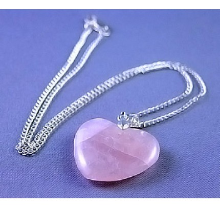 Live, Love, Hope Rose Quartz Heart Love Necklace