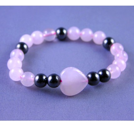 Live, Love, Hope Happiness - Hematite and Rose Quartz