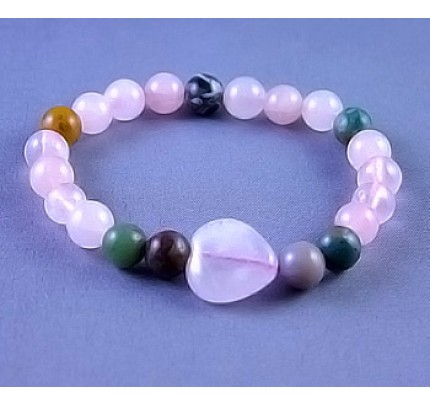 Live, Love, Hope Miracles - Agate and Rose Quartz