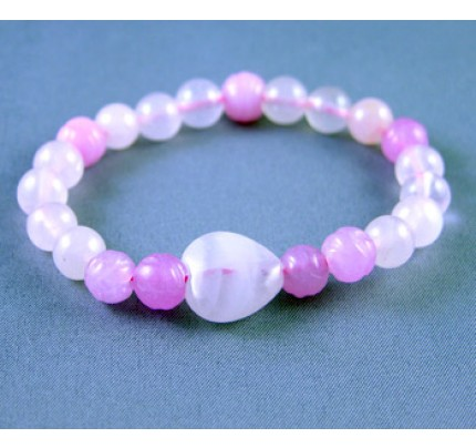 Live, Love, Hope Good Luck - Pink Jade and Rose Quartz