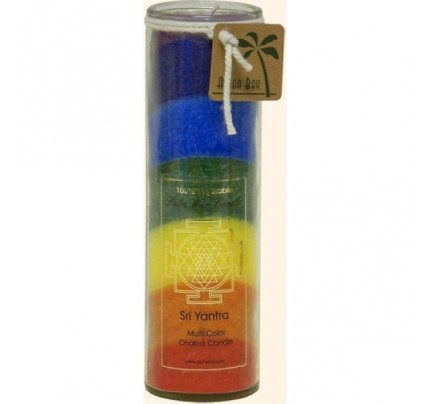 Candle Chakra Jar Unscented Sri Yantra Rainbow 16 oz.
