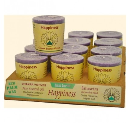 Candle Chakra Votive Happiness (Sahasrara) Violet 12-pack