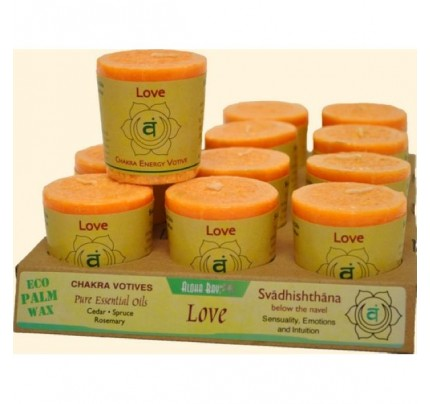 Candle Chakra Votive Love (Svadhishthana) Orange 12-pack