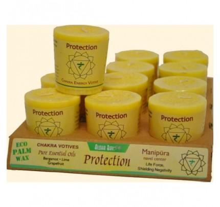 Candle Chakra Votive Protection (Manipura) Yellow 12-pack