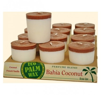 Candle Votives Bahia Coconut White-Brown 12-pack