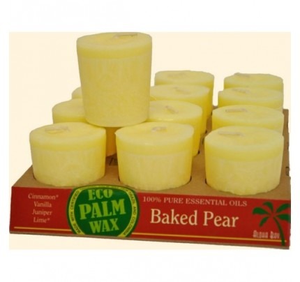 Candle Votives Eco Palm Wax Baked Pear Champagne 12-pack