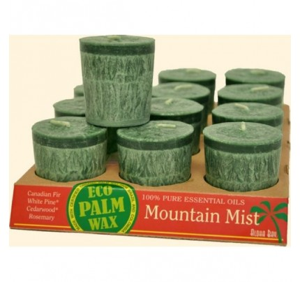 Candle Votives Eco Palm Wax Mountain Mist Green 12-pack