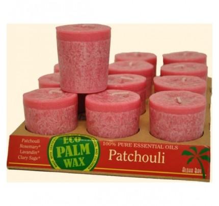 Candle Votives Eco Palm Wax Patchouli Rose 12-pack