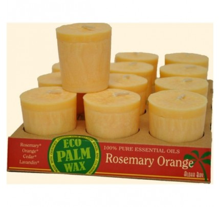 Candle Votives Eco Palm Wax Rosemary Orange Peach 12-pack