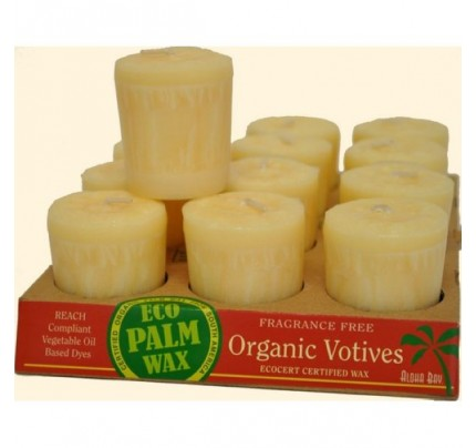 Candle Votives Organic Eco Palm Wax Unscented Cream 12-pack