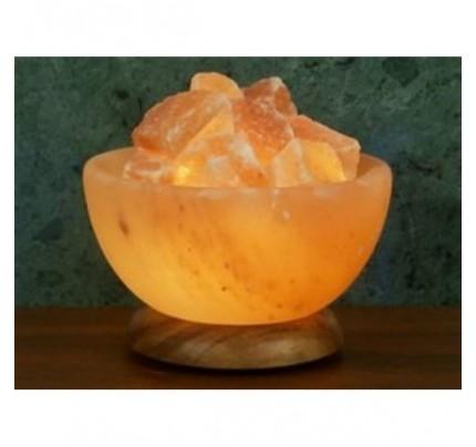 """Himalayan Salt Bowl Lamp Hardwood Base 8"""""""
