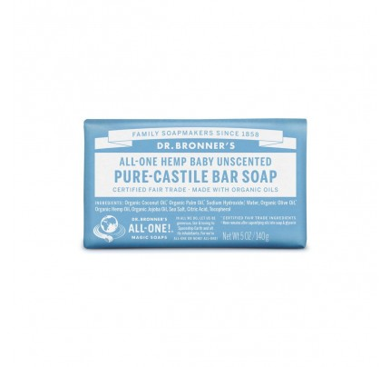 Organic Hemp Pure Castile Bar Soap Unscented Baby Mild 5oz.