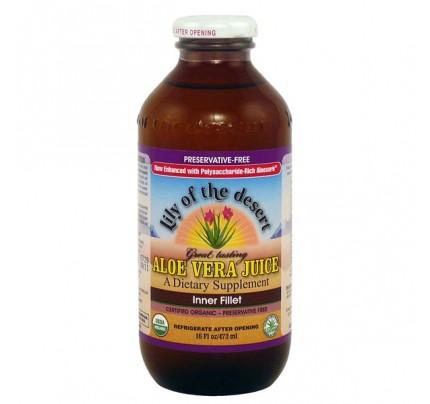 Organic Aloe Vera Inner Fillet Juice Preservative Free 16 oz.